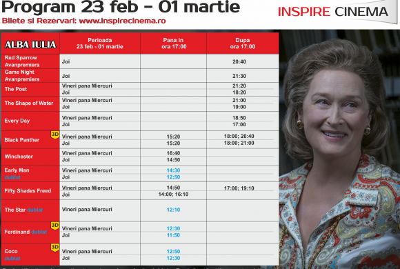 INSPIRE CINEMA PROGRAM  23 Feb – 1 Mar