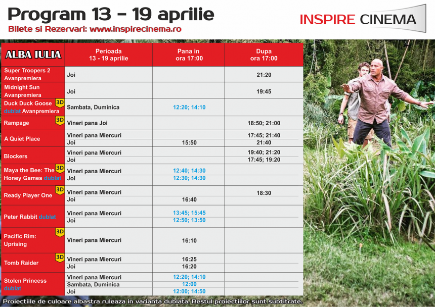 INSPIRE CINEMA PROGRAM  13 Apr – 19 Apr