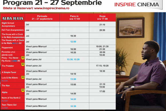 INSPIRE CINEMA PROGRAM  21 Septembrie – 27 Septembrie
