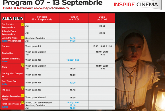 INSPIRE CINEMA PROGRAM  6 Septembrie – 13 Septembrie