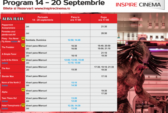 INSPIRE CINEMA PROGRAM  14 Septembrie – 20 Septembrie