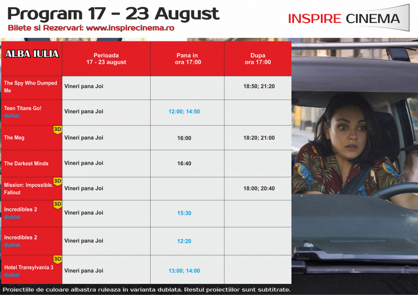 INSPIRE CINEMA PROGRAM  17 August – 23 August