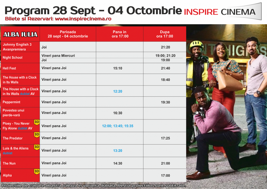 INSPIRE CINEMA PROGRAM  28 Sep – 4 Oct