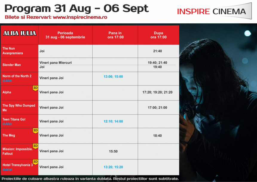 INSPIRE CINEMA PROGRAM  31 August – 6 Septembrie