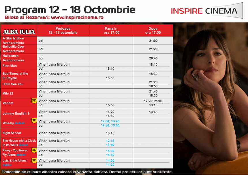 INSPIRE CINEMA PROGRAM  12 Oct – 18 Oct